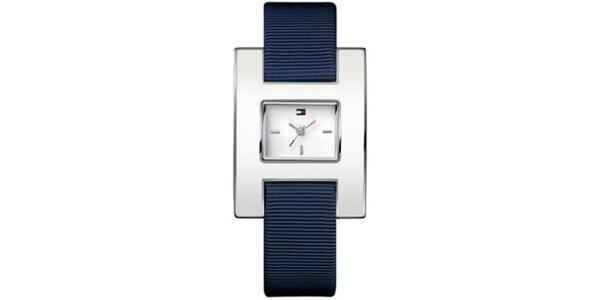 Dámské ocelové hodinky s textilním řemínkem Tommy Hilfiger