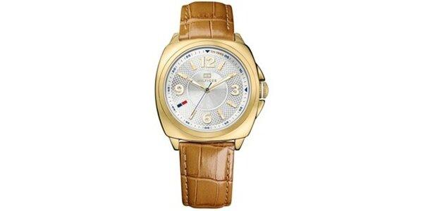 Dámské pozlacené ocelové hodinky s hnědým koženým řemínkem Tommy Hilfiger