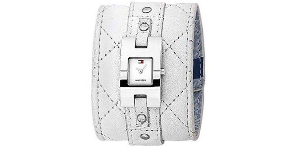 Dámské bílé hodinky s prošívaným koženým páskem Tommy Hilfiger