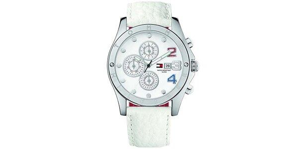 Dámské bílé hodinky s barevnými číslicemi Tommy Hilfiger