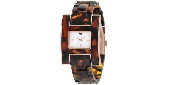 Dámské žíhané hnědé hodinky Tommy Hilfiger