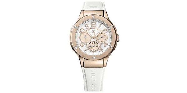 Dámské hodinky s růžovými detaily a bílým silikonovým řemínkem Tommy Hilfiger