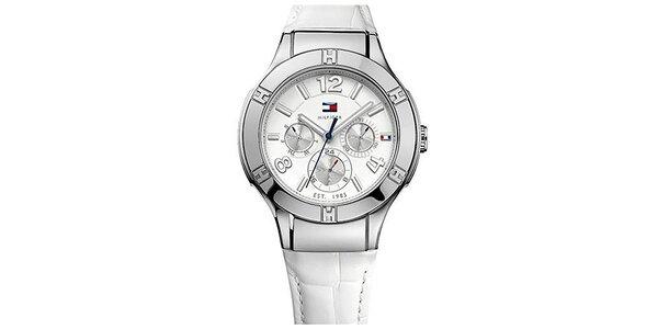 Dámské hodinky s bílým ciferníkem a bílým řemínkem z kůže Tommy Hilfiger