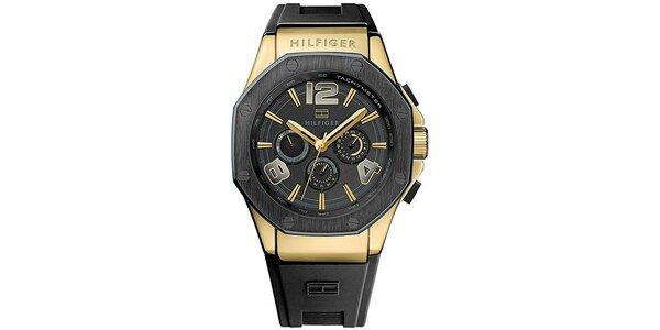 Pánské černé hodinky se silikonovým řemínkem Tommy Hilfiger