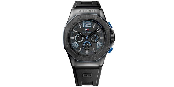 Pánské černé hodinky se silikonem Tommy Hilfiger