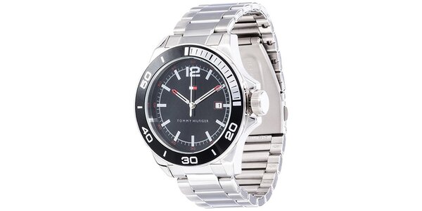 Pánské ocelové hodinky s kulatým černým ciferníkem Tommy Hilfiger