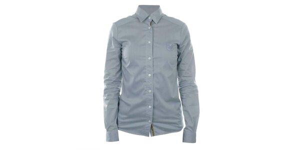 Dámská šedá košile s dlouhým rukávem a výšivkou SMF Jeans