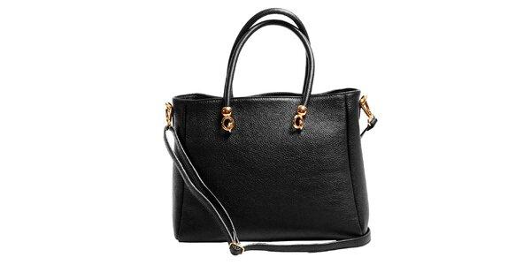 Dámská černá prostorná kabelka z kůže Joana and Paola
