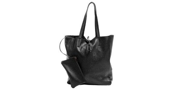 Dámská černá kožená kabelka s kapsičkou Joana and Paola