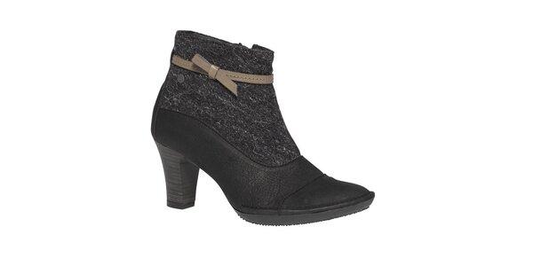 Dámské černé kotníčkové boty s béžovou mašličkou TBS
