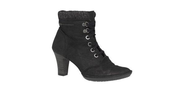 Dámské černé kotníkové boty se šněrováním TBS