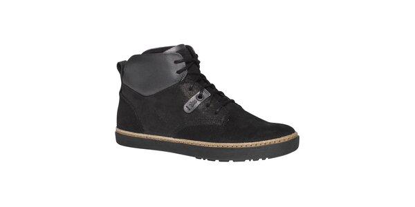 Dámské černé kotníkové boty TBS - šněrovací