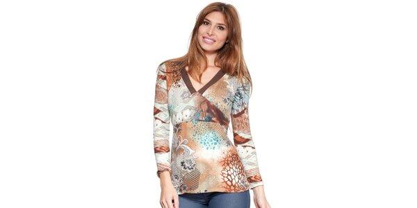 Dámské hnědobéžové tričko se vzorem Janis