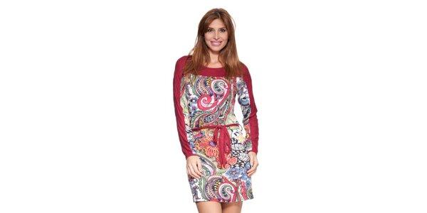 Dámské červené šaty s potiskem a páskem Janis