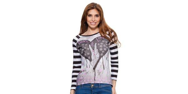 Dámské tričko s pruhovanými rukávy Janis