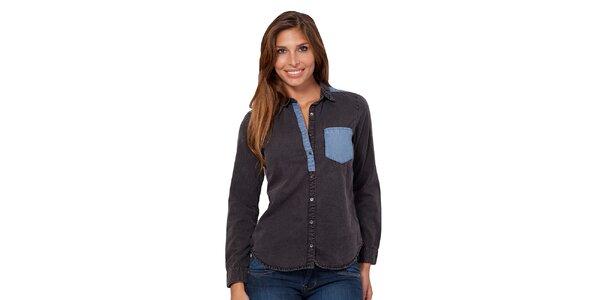 Dámská košile s modrou nápsní kapsou Janis