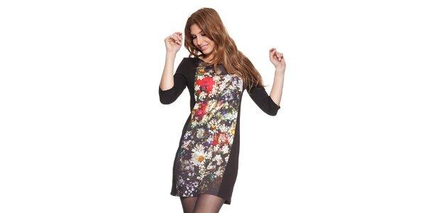 Dámské černé šaty s květinovým potiskem Janis