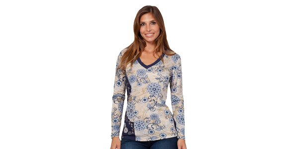 Dámské tričko s modrým květinovým potiskem Janis
