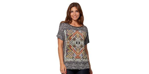 Dámské vzorované černé tričko Janis