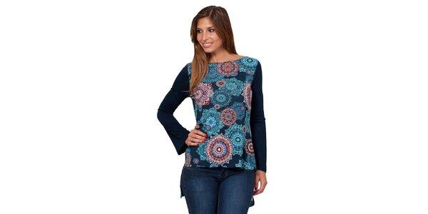 Dámské vzorované triko s odhalenými zády Janis
