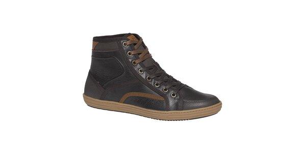 Pánské tmavě hnědé boty TBS - kotníkové