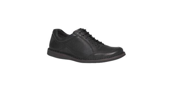 Pánské černé kožené šněrovací boty TBS