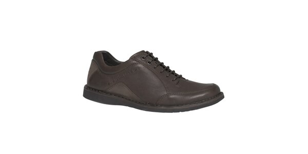 Pánské hnědé kožené šněrovací boty TBS