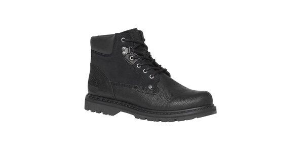 Pánské černé kotníkové boty s tkaničkami TBS