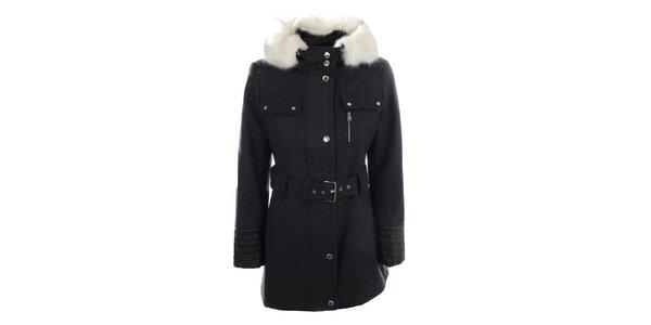 Dámský tmavě šedý kabát s kapucí a bílým kožíškem Halifax