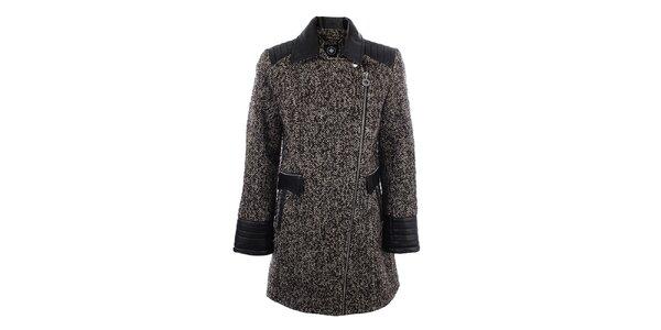 Dámský hnědý žíhaný kabát s černými vsadkami Halifax