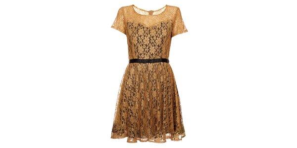 Dámské zlaté krajkové šaty Yumi