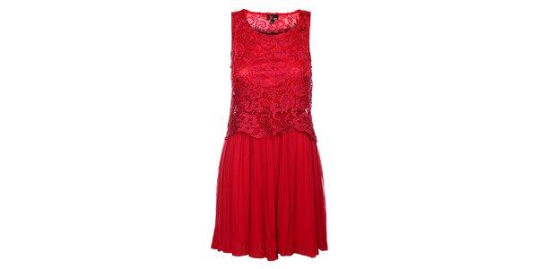 Dámské temně růžové krajkové šaty Yumi