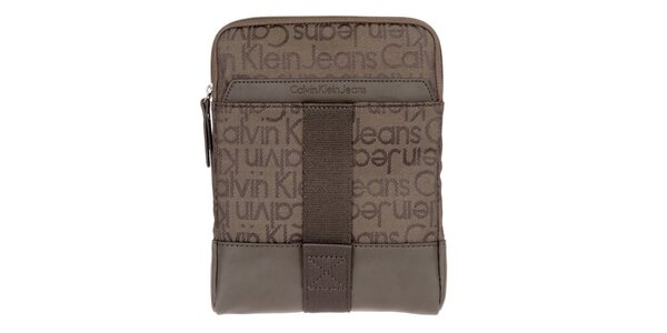 Pánská hnědá taška přes rameno s nápisy Calvin Klein Jeans