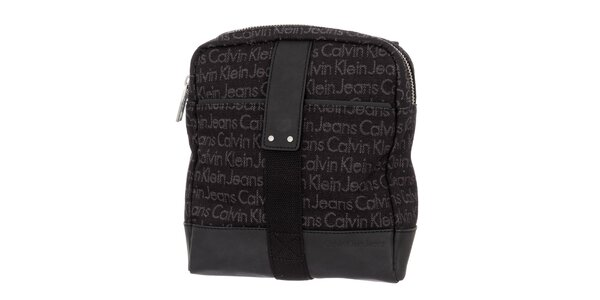 7eeaeded4d Pánská tmavě hnědá taška s nápisy Calvin Klein Jeans