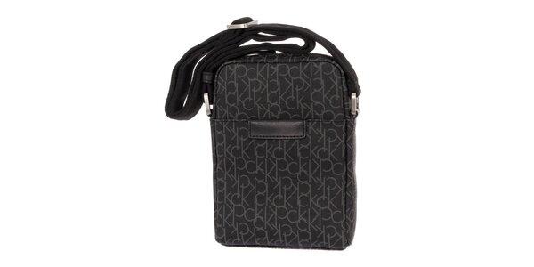 19245b391c Pánská antracitová vzorovaná taška přes rameno Calvin Klein