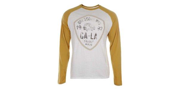 Pánské bílé tričko se žlutými rukávy Timeout