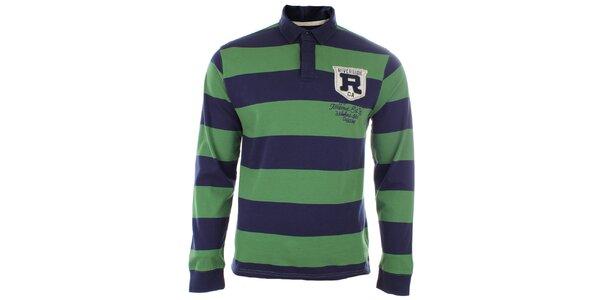 Pánské triko s modro-zelenými pruhy a límečkem Timeout