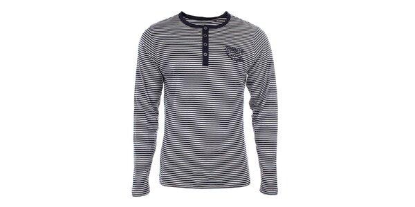 Pánské modro-bílé pruhované tričko s dlouhým rukávem Timeout