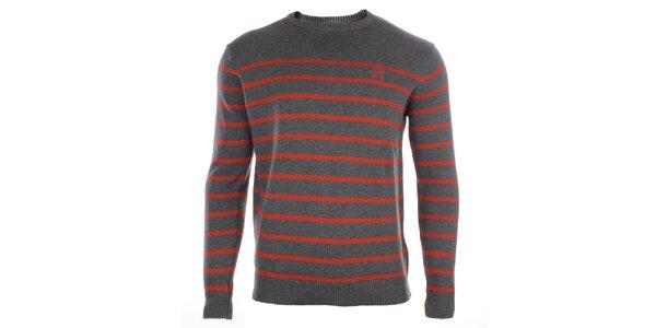 Pánský šedý svetr s proužky Timeout