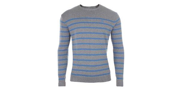 Pánský šedý svetr s modrými pruhy Timeout