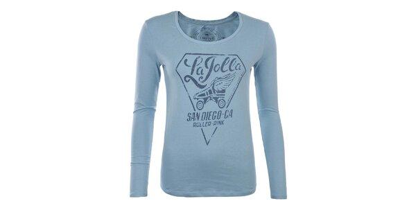 Dámské modré tričko s potiskem Timeout