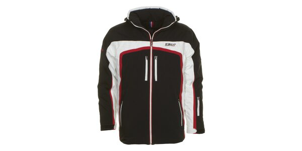 Pánská černá bunda s bílými a červenými detaily E2ko