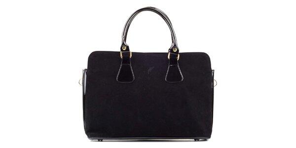 Dámská černá semišová kabelka s lakovanými prvky Felice