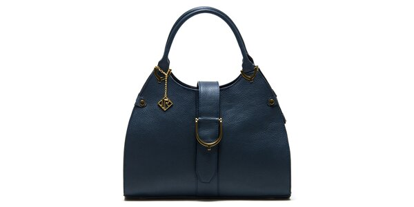 Dámská tmavomodrá kožená kabelka s páskem Isabella Rhea