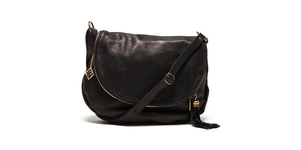 Dámská černá kožená kabelka s přívěskem a střapcem Isabella Rhea