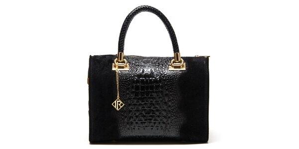 Dámská černá kabelka se vzorem krokodýlí kůže Isabella Rhea
