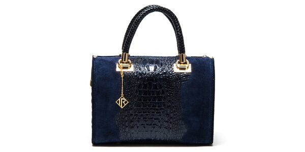 Dámská modrá kabelka se vzorem krokodýlí kůže Isabella Rhea