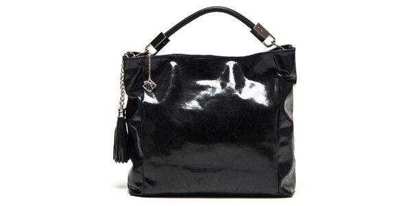 Dámská lesklá černá kabelka se střapci Isabella Rhea