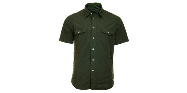 Pánská tmavě zelená košile Freesoul s krátkým rukávem