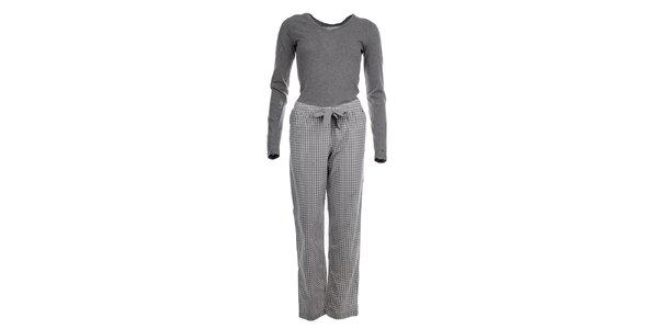 Dámské pyžamo - tričko s dlouhým rukávem a kalhoty s kostičkami Tommy Hilfiger